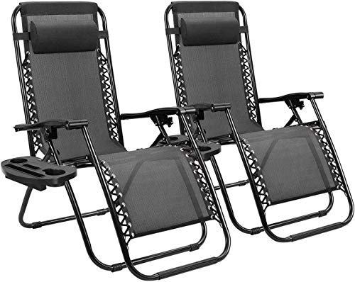 2 Pack Folding Recliners Chairs Outdoor, Sun Lounger Zero Gravity Reclining Sun Lounger Chair Lounger Recliner Adjustable Back Desk Chair for Patio Camping Beach HAIKE (Color : A)