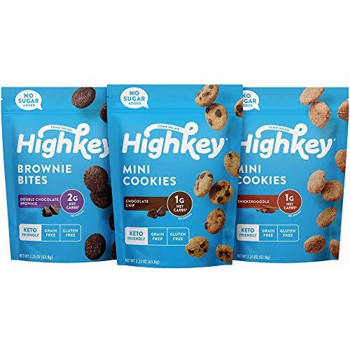 HighKey Gluten Free Snack Pack - 3 Pack - Snickerdoodle, Brownie Bites & Chocolate Chip Cookies - Keto Friendly Foods Sugar Free Healthy Snacks Paleo Ketogenic Diabetic Desserts Variety