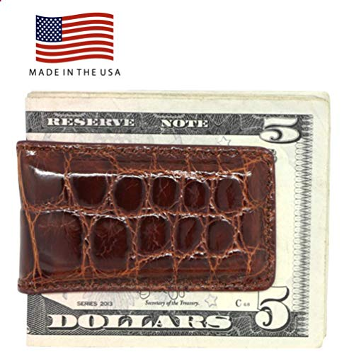 Cognac Glazed Genuine Alligator Magnetic Money Clip - American Factory Direct - Strong Shielded Magnets - Money Holder - Money Holder - Made in USA by Real Leather Creations FBA498