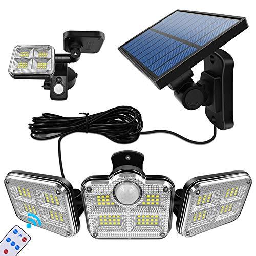Veriliss Luces De Seguridad Solares Con Sensor De Cuerpo Superbrillante, 122LED Alambre de 5m Luces Con Sensor De Movimiento Luces De Inundación(Tres cabezas)