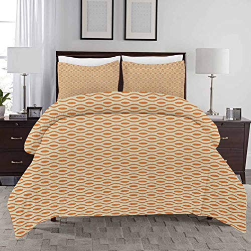 Geometric Bedding Duvet Cover Set King Size Swirled and Curved Lines Dots Ornamental Horizontal Waves Illustration Soft Lightweight Microfiber Decorative 3 Piece Bedding Set with 2 Pillow Shams