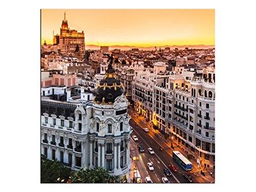 Kunst-discounter A06163 - Quadro da parete in tela di Madrid Spagna, dimensioni 20 x 20 cm
