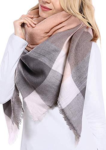Bufanda Manta de Invierno Para Mujer Tartán Pashmina Larga Bufanda Rectángulo de Cuadros Escoceses de Cachemira para Mujer