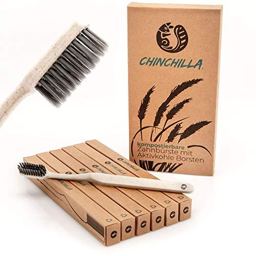 Chinchilla® 6-pack biologisch afbreekbare tandenborstel - tarwestro tandenborstelgreep & bamboe houtskool borstelharen 100% BPA-vrij & vegan (beige) beige