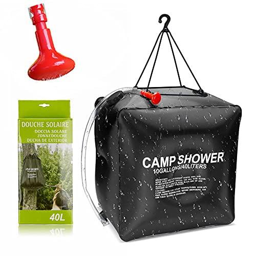 Gohytal Bolsa de ducha solar de camping, 40 litros, para ducha solar portátil, bolsa de camping exterior, con tubo extraíble y alcachofa para camping, exterior, jardín, senderismo, playa, natación