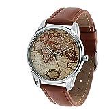 Originale orologio con cinturino in pellenera, motivo mappamondo