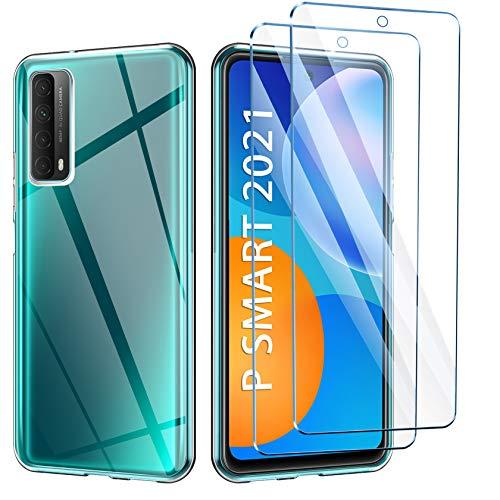AROYI Hülle Kompatibel mit Huawei P Smart 2021 mit 2 Stück Panzerglas Schutzfolie, Durchsichtig Hülle Transparent Silikon TPU Schutzhülle 9H Festigkeit HD Panzerglasfolie Glas für P Smart 2021