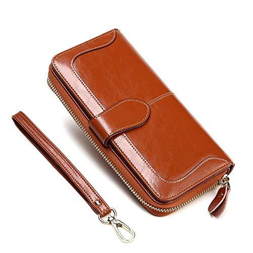 Shiyue Geldbörse aus Rindsleder, lang, modisch, Reißverschluss, trendiges Leder, für Damen, Geldbörse, Paarmodelle, Retro Brown_19 x 9,5 x 3 cm Retro Braun 19*9.5*3cm
