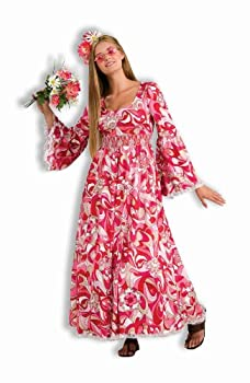 Forum Novelties Women s 60 s Hippies Revolution Flower Child Costume Dress Pink/White Standard