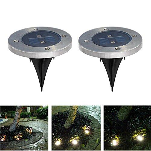 Lot de 2 lampes solaires à piquet inox Spotlight LED Borne pour de Jardin Pelouse Décoration Noel Nouvel An Marriage - Blanc