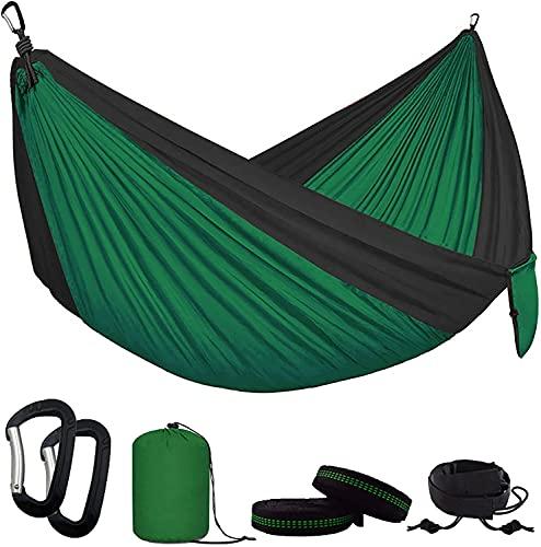 ZHZHUANG Hamaca portátil de nailon para senderismo, camping, 300 x 200 cm, para doble persona, ocio, color verde y negro