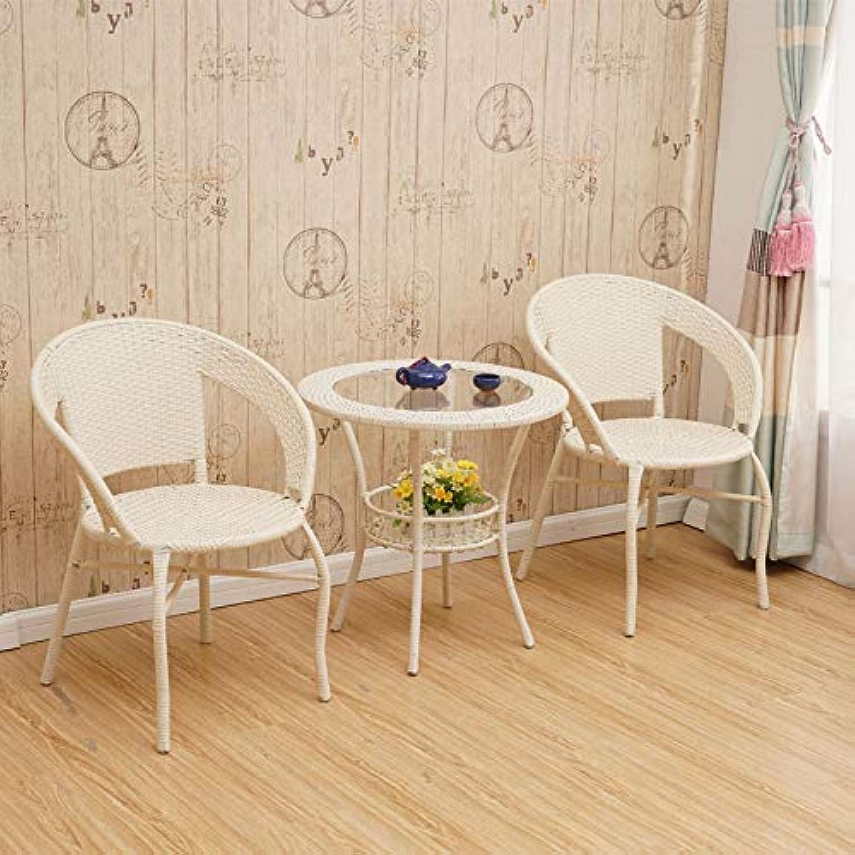 PE Nachahmung Rattan Stricken Stuhl, Rohrstuhl, Teetisch, drei Stze von Innen-Balkon im Freien Rattan-Mbel, weier Reis
