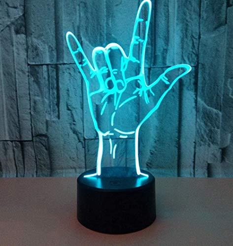 3D Led Slide Luz de Noche en Forma de Mano Interfaz USB Luz 7 Tipos de Cambio de Color Toque Bebé Dormitorio Luz de Sueño Fiesta de Cumpleaños Niños Regalo de Vacaciones Control Remoto Regalo