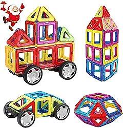 INTEY Magnetische Bausteine 32 Teile, Magnetspielzeug Bauklötze Puzzle mit Riesenrad und Aufbewahrungstasche, ideales Geschenk für Kinder
