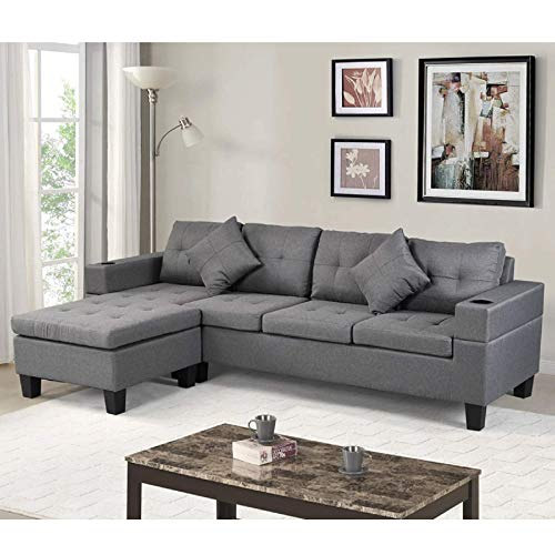 AUKUYEE Convertible Sectional Sofa for Living Room, L Shape Sleeper Corner Chaise with Reversible Lounge Seat (Left Or Right) and 2 Cup Holder, Grey