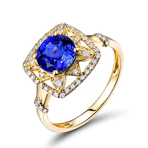AnazoZ Anillo de Tanzanita Mujer,Anillos de Oro Amarillo 18 Kilates Mujer Oro Azul Cuadrado con Redondo Tanzanita Azul 1.245ct Diamante 0.26ct Talla 15