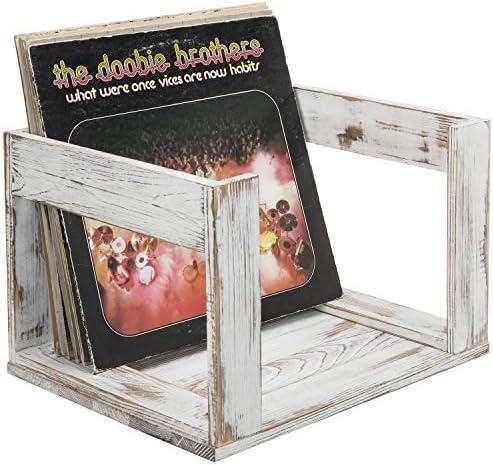 MyGift Vintage Whitewashed Wood Vinyl Record Storage Crate product image