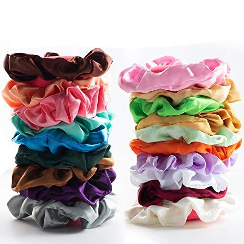Audamp Haargummis 30 Stück Scrunchies Bunte Dicke hair scrunchie Haar Gummibänder Haarbänder Elastische für Damen oder Mädchen