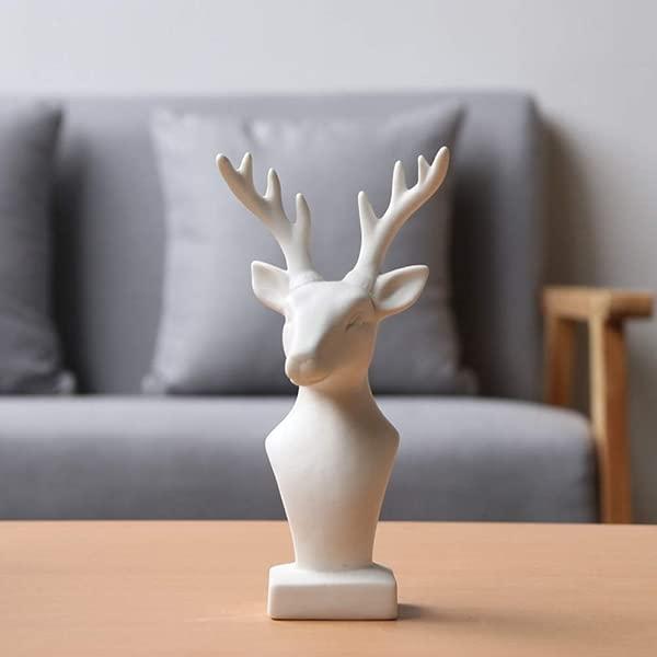 CAMLEO Modern Deer Head Statue White Ceramic Reindeer Figurine Home Decorative Animal Elk Sculpture Craft Decor Ornament