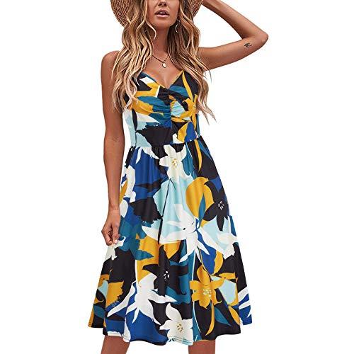 Vestido de verano para mujer, sin mangas, cuello en V, largo hasta la rodilla, diseño floral, línea A, estilo boho, elegante, casual, túnica amarillo L