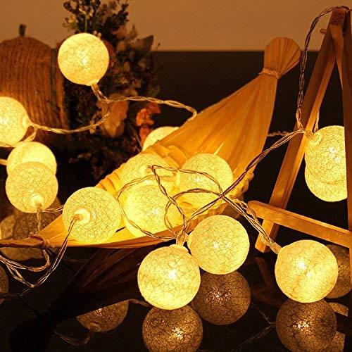 Beetest-Guirlande Lumineuses,13m 20 LED Coton Guirlande Lumineuses Boules,Guirlande Lumineuse Boule pour Noël Halloween Fête De Mariage Vacances Maison Jardin Chambre Lumière Chaude