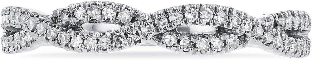 Kobelli Round Diamond Braided Wedding Band 1/6 carat (ctw) in 14K White Gold