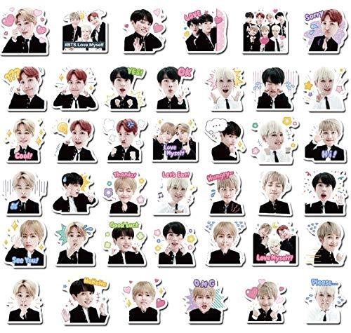 BTS Bangtan Kpop Vinyl Stickers Decals For Laptops, Phones, Phone Case, Consoles, Walls, Luggage Case, Books, Bottle - 40 Stickers (1 each design) RM, Jin, Suga, J-Hope, Jimin, V, Jungkook