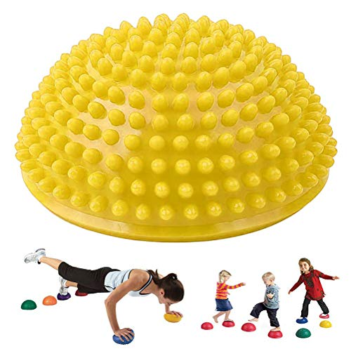 Balance Trainer, Balance Egel Fitness halve bal met noppen - Balance egelkussen sport kussen voor coördinatie training geel