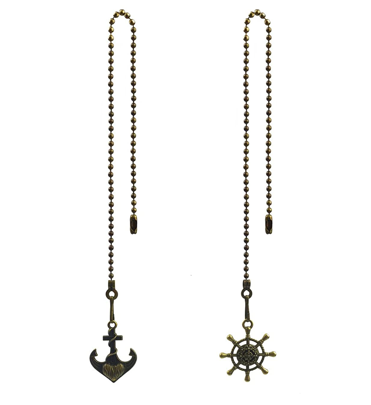 Hyamass 2pcs Vintage Anchor and Wheel Charm Pendant Ceiling Fan Danglers Fan Pulls Chain Extender with Ball Chain Connector