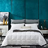 Globon White Goose Down Comforter / Blanket King Lightweight Summer, Noiseless & Extra Soft Down-Proof Shell, 400 Thread Count, 18OZ, 750 Fill Power, with Ties, Solid White.