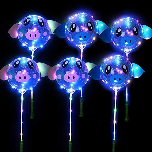 FORMIZON Palloncini Luminosi LED Trasparenti, 6 Pcs Palloncini LED, Balloon Lampeggiante per Compleanni, Matrimoni, Celebrazioni, Feste, Natalizi