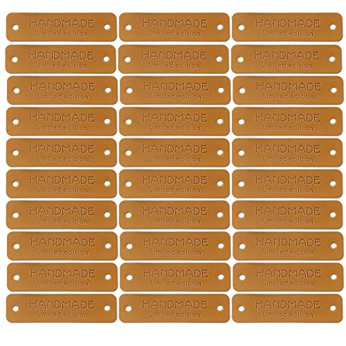 Wzong 30 etiquetas de piel sintética hechas a mano para ropa, etiqueta hecha a mano, con agujeros, etiqueta en relieve, para hacer joyas, vaqueros, bolsos, zapatos, gorros (marrón)
