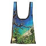 Paisaje Griego Playa Vista Rodas Isla Tsambika Costa Claro Cielo Y Mar Foto Azul Verde Marrón Reutilizable Bolsas de comestibles, Bolsa de compras plegable ecológica Cabe en el bolsillo