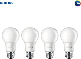 Philips LED Non-Dimmable A19 Frosted Light Bulb: 1500-Lumen, 5000-Kelvin, 14-Watt (100-Watt Equivalent), E26 Medium Screw Base, Daylight, 4-Pack, 455717