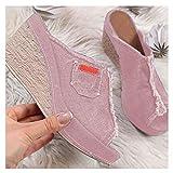 XXXZZL Mujer Sandalias de Cuña Elegante Zapatos Verano Plataforma Boca de Pescado Sandalias Mezclilla Color Sólido Zapatos De Tacón Alto Alpargatas De Playa Fiesta,Rosado,41EU
