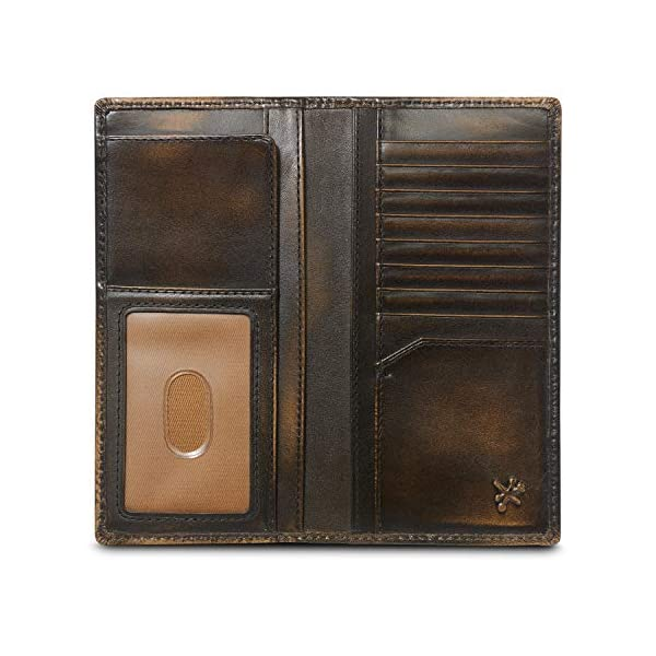 HOJ Co. SKULL Long Wallet For Men | Full Grain Leather With Hand Burnished Finish | Bifold Wallet | Rodeo Wallet | Skull Wallet