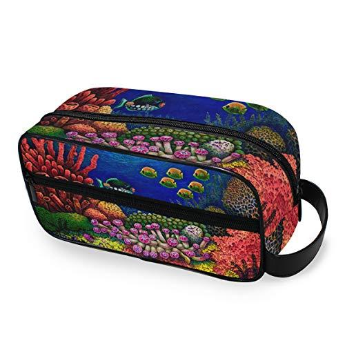Make-uptas gereedschap cosmetica trein geval reis opbergbox toilettas cartoon kleurrijke oceaan koraal vis draagbaar