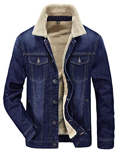 HOW'ON Men's Plus Cotton Warm Fur Collar Sherpa Lined Denim Jacket Button Down Classy Casual Quilted Jeans Coats Outwear Blue S