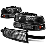 Replacement for Chevy SIlverado/Suburban/Tahoe Pair of Black Housing Amber Corner Headlight+Black Meshed Front Grille