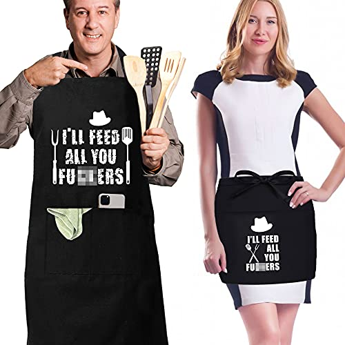 2 Pack Black Funny Aprons Feed All You Chef Apron and Waist Apron for Kitchen Grilling Cooking BBQ Baking,Gift Apron for Women Men