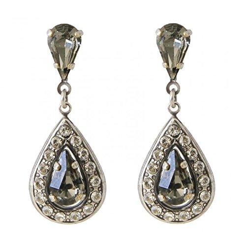Manon de Brarécourt – Ohrringe Kristalle von Swarovski® Black Diamond und Crystal aus versilbertem Metall