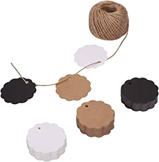 150ct Kraft Paper Gift Tags Labels with StringTwine Black White Brown Bulk Set (Scalloped)