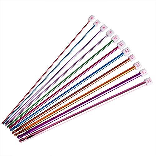 MINGZE Set di uncinetto, Aghi di Crochet, 11 pezzi Diverse dimensioni colori assortiti alluminio ferri da maglia Set (2mm a 8mm)