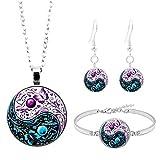 Homeofying Vintage femmes rondes pendentif chaîne collier crochet boucles d'oreilles Bracelet Bijoux Set pour les femmes Violet + Bleu