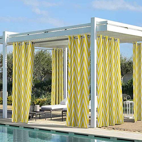ParadiseDecor Yellow Chevron Washable Curtains for Patio Porch Gazebo Garden Thin Yellow and White Chevron Stripes Retro Pattern in Contemporary Design Yellow White 100W x 84L Inch