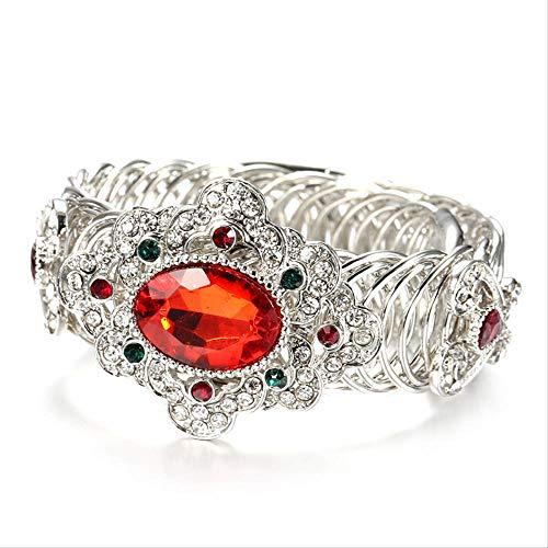 Mode Boho Armband Für Frauen Silber Farbe Rot Kristallblume Vintage Armbänder Armreif Party Indischer Hochzeitsschmuck
