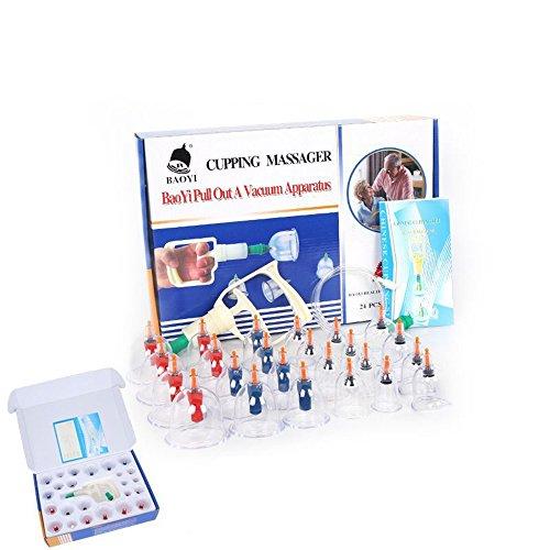 CFtrum 24Pcs Soin beauté en Plastique Massage Cups- Soins du Corps Ventouse Anti-cellulite Masseur Set amincissant Dispositif de Massage sous vide