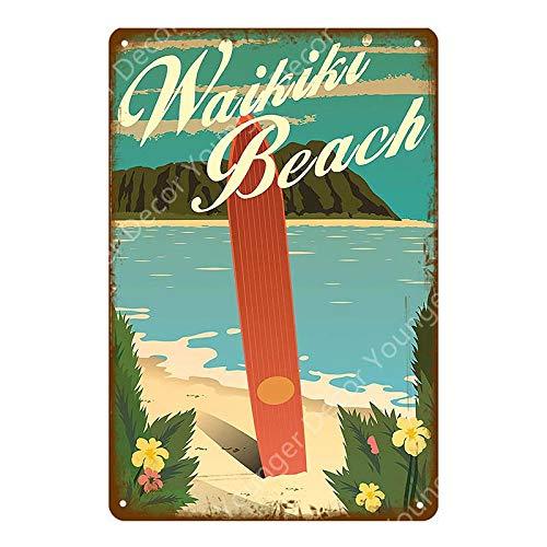 ivAZW Metal Tin Signs Vintage Shop Decor Wall Art Painting Plate Seaside Bar Pub Club Plaque Beach Poster 20x30cm YD5210G