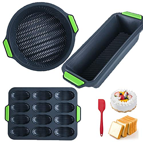 Depruies Brötchen Backform 4er Set Baguette Backform Ein MUSS für Jede Küche !!! Brotbackform aus Silikon – Antihaft-Kastenform, Brotform auch als Kuchenform – Ofen Mikrowelle Waschbar