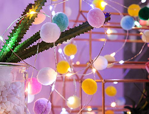 20 LED Fairy String Lights Battery Powered Pom Ball 6.6 ft Warm White Decorative Wall Lights for Bedroom Wedding Party Christmas Valentine's Day Nursery Decor (Multicolor)